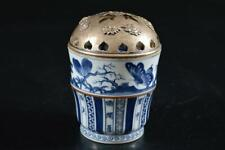 G4104: Japanese Old Kiyomizu-ware Butterfly Insect Poetry pattern INCENSE BURNER