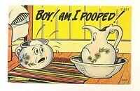 "VINTAGE 1930-45 Comic ""BOY ! AM I POOPED !!"" LINEN PC 1213 Rare"