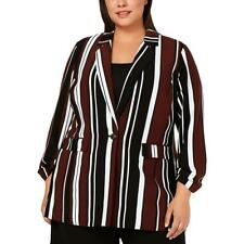 Alfani Womens Striped Business One-Button Blazer Jacket Plus BHFO 4173
