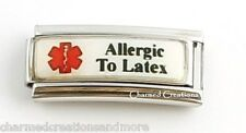 Allergic To Latex Caduceus Gloves Medical Alert 9mm Italian Charm Superlink
