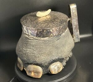 antique taxidermy animal collectables Elephant Foot Silver Plated Ice Bucket