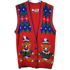 Ugly Christmas Sweater Vest Marisa Christina Classics Teddy Bear Knit 1993 Sz S