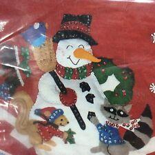 Vintage Christmas Tree Skirt Kit Snowman Animals New Old Stock