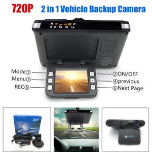 Car Backup Camera 2in1 720P Car DVR Camera Driving Recorder Dash Cam Radar 120°