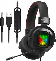 Onikuma K3 Gaming Headset w/ RGB Light Over-Ear Headphones & Noise Canceling Mic