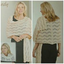 KNITTING PATTERN Ladies Lacy Wrap/Shoulder Warmer Celeste DK Wendy 5919