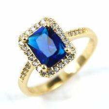 Para Mujer Chapado en Oro Anillo oblongos azules de cristal