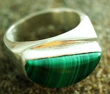 Breit Extrem Massiv Malachit Bandring Siegelring Silber Ring 56 Handarbeit Grün