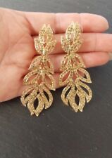 Gold Jewelled Drop Prom Party Christmas Statement Earrings-UK SELLER