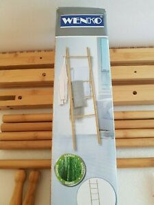 WENKO Bamboo Towel Ladder - 57x4x170 cm - Practical ladder, position anywhere
