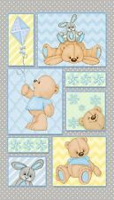 Teddy Time Flannel Fabric Panel Baby Boy Fabric Out Of Print Premium Cotton