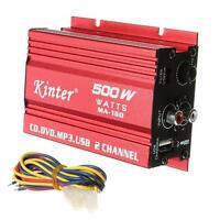 500W 2-CH Mini Hi-Fi Stereo Audio Amplifier LED Auto Car Amp Subwoofer Red US