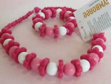 New Gymboree Island Lily Necklace Bracelet Set Pink White Beads Jewelry Set