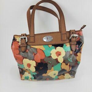 FOSSIL KEY-PER Floral Coated Canvas Brown Leather Shoulder Shopper Purse Bag