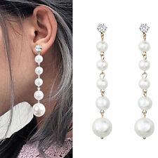 Long Tassel  Fashion Dangle Earrings Earring Stud Drop Crystal Big Pearl