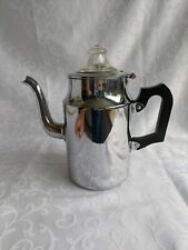 More details for stylish vintage 1950 stove top aluminium znd glass coffee pot/ percolator