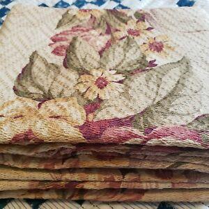"Vintage Barkcloth Floral Deco pair Curtain Panels 68"" × 34"""