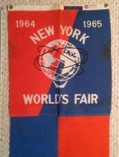 1964-65 NY World's Fair Original Unisphere Blue and Orange 6 foot Banner Flag