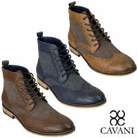 Mens Cavani Sherlock Peaky Blinders Boot Brogue Tweed Accents Navy Tan Brown