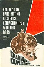 The Human Duplicators (1965) George Nader, Barbara Nichols Horror Pressbook