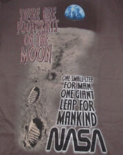 NEW MENS S GIANT LEAP NASA ASTRONAUT QUOTE T SHIRT, Footprints On The Moon Tee