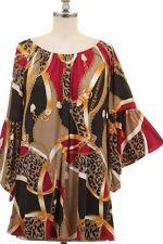 NWT Plus 2XL 16/18 Black Gold Chain Equestrian Animal Wide Sleeve Tunic Top
