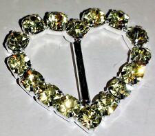 SALE! 50 Grade A Yellow Rhinestone Crystal Heart Ribbon Slider Buckles 10mm Bar