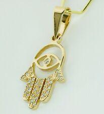 14K Yellow Gold Diamond Evil Eye Hamsa Hand of Fatima Pendant