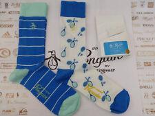 Original PENGUIN Crew Sock 125 White Blue Sporty Casual UK 7-11 2/p Socks BNIP