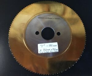 """Cold Saw 7"""" Tin Coated 130 teeth Saw Blade for Metal/Steel 180mm x 2.0mm x 32mm"""