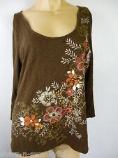 Mujer Marrón Estampado Floral Cuentas Cuello Redondo Top Algodón REINO UNIDO 16