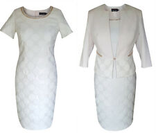 MOTHER OF THE BRIDE FORMAL OUTFIT DRESS JACKET 2 PIECE SIZE 14 CREAM WEDDING