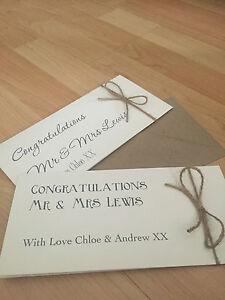 Personalised vintage/retro wedding congratulations Money/Voucher Wallet