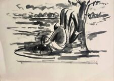 David Hendler: Taking a Rest Under a Tree / Israeli Jewish Modern Watercolor