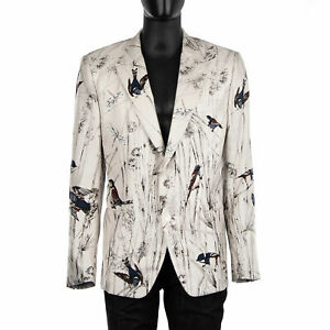 DOLCE & GABBANA SICILIA Single-Breasted Birds Silk Blazer Jacket White 07644