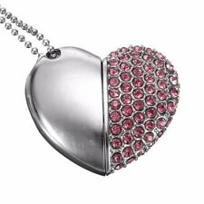32GB Silver Pink Crystal Heart Novelty Love Gift USB2.0 FlashDrive MemoryStick