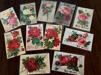 ~Beautiful ~Lot of 11~ Fancy Roses Antique Gel Embossed Greetings Postcards-h231