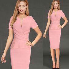 Women's Ruched Zipper Peplum Pencil Dress Casual Work Slim Bodycon Dress