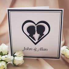 male gay silhouette wedding invitations black and white  same sex weddings