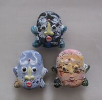 3 Pcs Old China Peking Glass Colored Carved Double-sided face Pendant statue