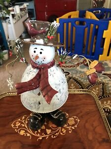 Metal Xmas Christmas Snowman with Tea Light