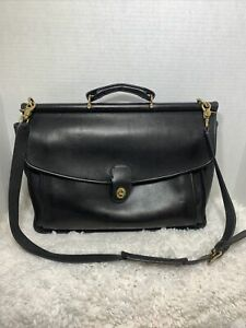 Vintage Coach Made Italy Black Leather #5266 Beekman Briefcase Messenger Bag
