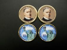 Two 2013 William McKinley Presidential Dollars Colorized on Both Sides