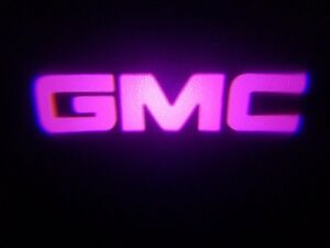 2PC PINK GMC 5W LED EMBLEM DOOR PROJECTOR GHOST SHADOW PUDDLE LOGO LIGHT