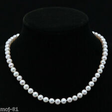 "Genuine 7-8mm Natural White Akoya Freshwater Pearl Necklace 18"" AAA++"
