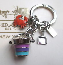 Coach Beach Ocean Multi Mix Crab Shovel Bucket Key Fob Chain Keychain Charm