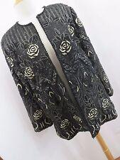 Richilene New York Vintage Womens Blazer Jacket Black Glass Beads Gold Floral Hc