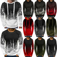 Mens Hoodies Hooded Sweatshirt Tops Long Sleeve Jumper Camouflage Sport Pullover