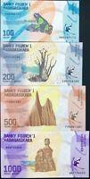 MADAGASCAR SET 4 PCS 100 200 500 1000 ARIARY 2017 P 97 98 99 100 UNC