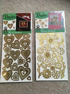 Craft destash - 2 packs of Dazzles 3d metallic gold stickers CD05